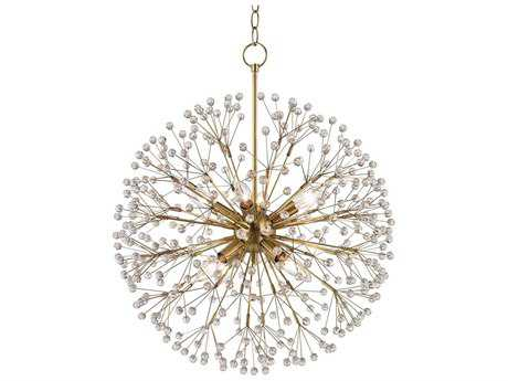 Hudson Valley Bold & Glamorous Dunkirk Aged Brass Eight-Light 20'' Wide Chandelier