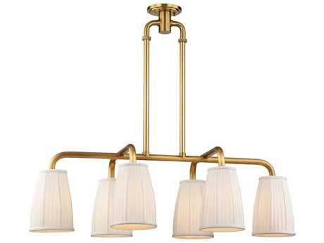 Hudson Valley Timeless Elegance Malden Aged Brass Six-Light 41.25'' Wide Island Ceiling Light