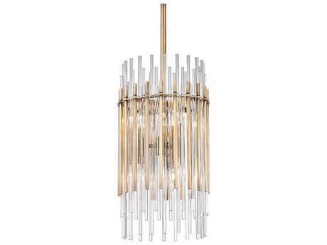 Hudson Valley Bold & Glamorous Wallis Aged Brass Six-Light 10.5'' Wide Mini-Pendant