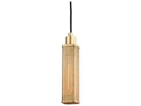 Hudson Valley Chic Vintage & Industrial Gibbs Aged Brass 2.75'' Wide Mini-Pendant