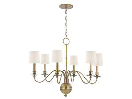 Hudson Valley Lighting Cohasset Classic Heritage Six-Light Chandelier with White Silk Shade