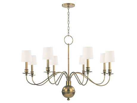 Hudson Valley Lighting Cohasset Classic Heritage Eight-Light Chandelier with White Silk Shade