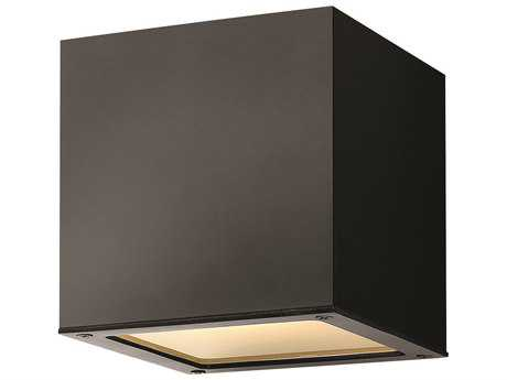 Hinkley Lighting Kube Satin Black Two-Light LED Outdoor Ceiling Light