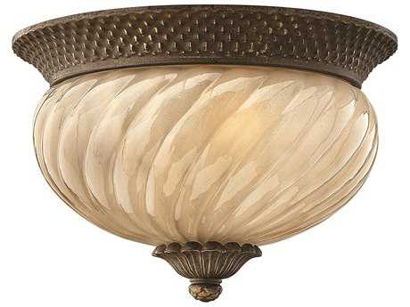 Hinkley Lighting Plantation Pearl Bronze Two-Light CFL Outdoor Ceiling Light