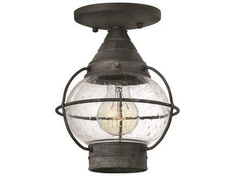 Hinkley Lighting Cape Cod Aged Zinc LED Outdoor Ceiling Light