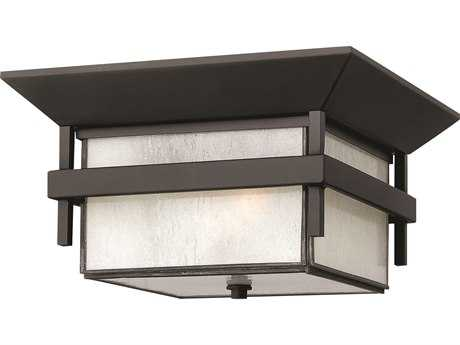 Hinkley Lighting Harbor Satin Black Two-Light CFL Outdoor Ceiling Light