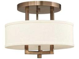 Hinkley Lighting Hampton Brushed Bronze Three-Light CFL Semi-Flush Mount Light