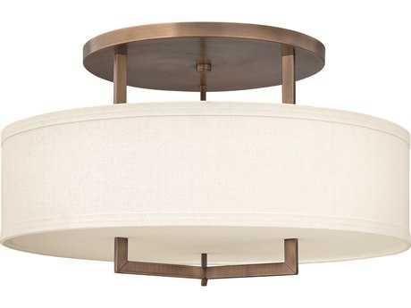 Hinkley Lighting Hampton Brushed Bronze Three-Light CFL Semi-Flush Mount Light