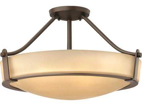 Hinkley Lighting Hathaway Olde Bronze Four-Light CFL / Light Amber Glass Semi-Flush Mount Light