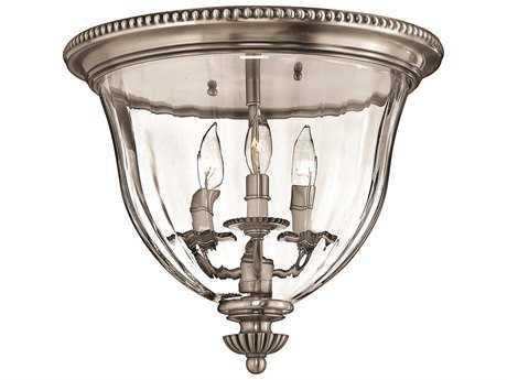 Hinkley Lighting Cambridge Pewter Three-Light Flush Mount Light