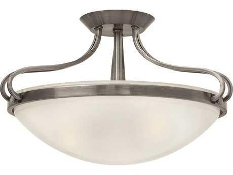 Hinkley Lighting Paxton Polished Antique Nickel Three-Light Semi-Flush Mount Light HY3831PL