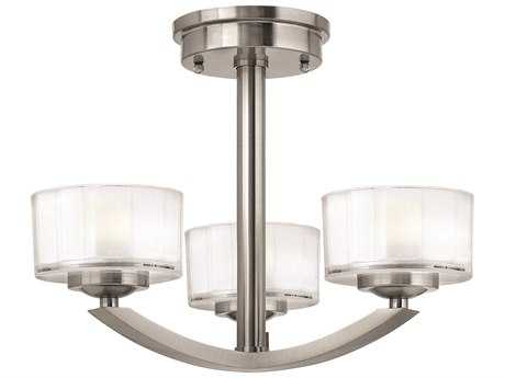 Hinkley Lighting Meridian Brushed Nickel Three-Light Mini-Chandelier