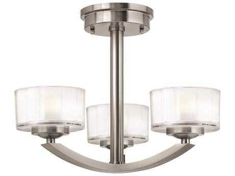 Hinkley Lighting Meridian Brushed Nickel Three-Light Mini-Chandelier