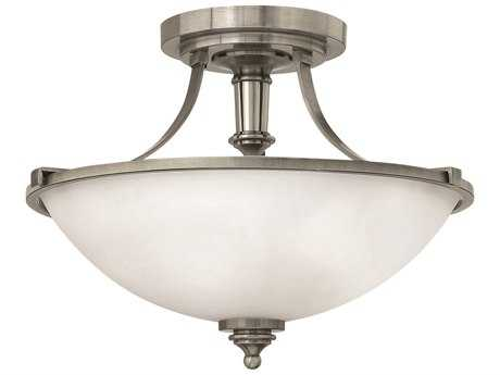 Hinkley Lighting Truman Antique Nickel Three-Light Incandescent Semi-Flush Mount Light