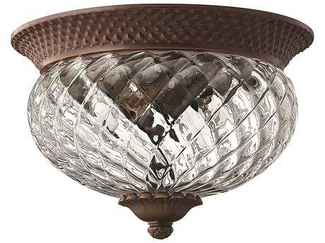 Hinkley Lighting Plantation Copper Bronze Two-Light Flush Mount Light