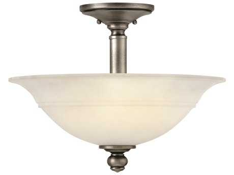 Hinkley Lighting Plymouth Polished Antique Nickel Three Light Semi Flush Mount