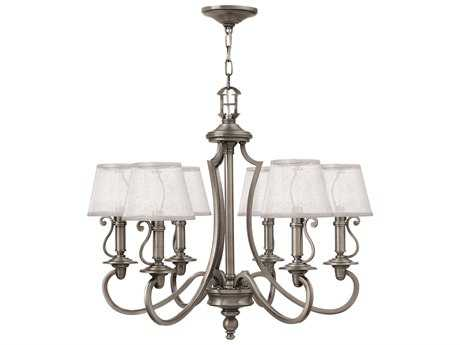 Hinkley Lighting Plymouth Polished Antique Nickel Six-Light 27.75 Wide Chandelier
