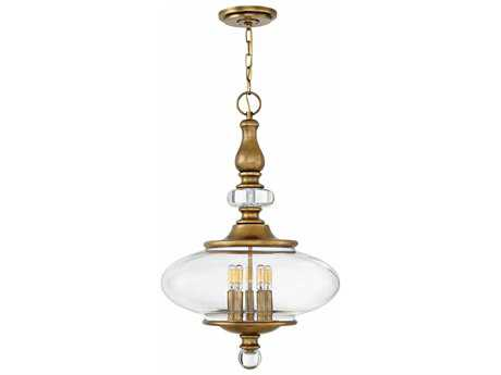 Hinkley Lighting Wexley Heritage Brass with Clear Glass Five-Light 18'' Wide Pendant Light HY4325HB