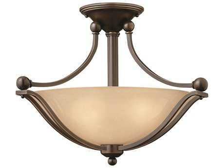 Hinkley Lighting Bolla Olde Bronze Two-Light CFL / Light Amber Glass Semi-Flush Mount Light