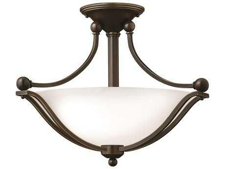 Hinkley Lighting Bolla Olde Bronze Two-Light CFL / Opal Glass Semi-Flush Mount Light