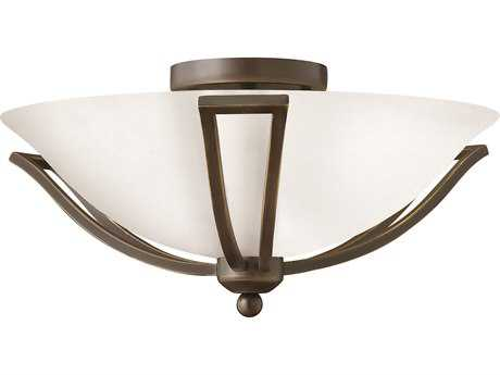 Hinkley Lighting Bolla Olde Bronze Two-Light CFL / Opal Glass Semi-Flush Mount Light