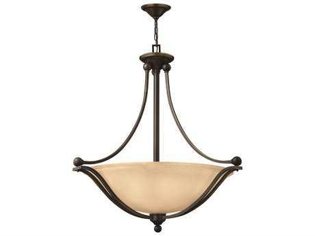 Hinkley Lighting Bolla Olde Bronze Four-Light CFL / Light Amber Glass Pendant Light