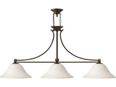 Hinkley Lighting Bolla Olde Bronze Three-Light Opal Glass Island Light