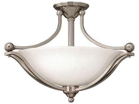 Hinkley Lighting Bolla Brushed Nickel Three-Light CFL Semi-Flush Mount Light
