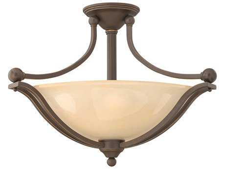 Hinkley Lighting Bolla Olde Bronze Three-Light CFL / Light Amber Glass Semi-Flush Mount Light