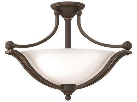 Hinkley Lighting Bolla Olde Bronze Three-Light CFL / Opal Glass Semi-Flush Mount Light