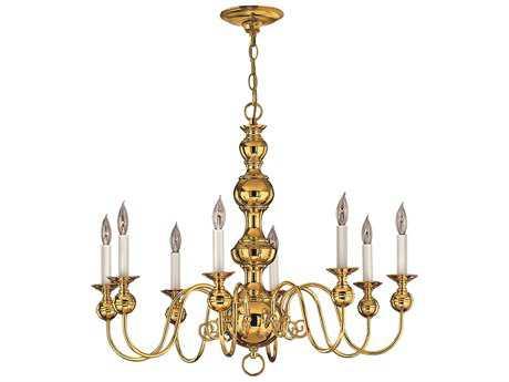 Hinkley Lighting Virginian Polished Brass Eight-Light 30 Wide Chandelier