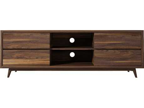 ION Design Vintage Black Walnut 71'' x 20'' Four Drawer Media Cabinet with Natural Wax Finish