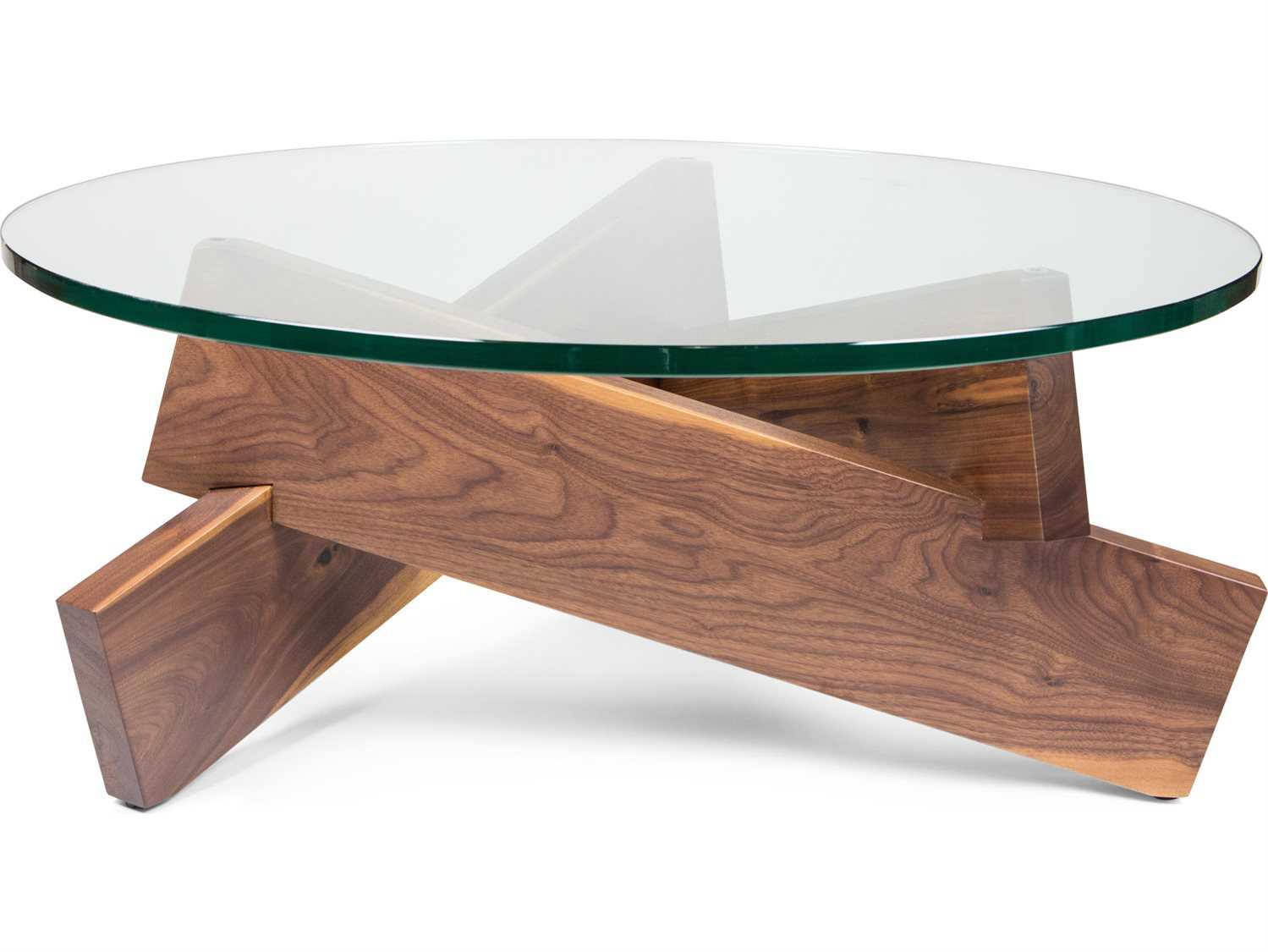 Ion Design Plank Walnut 36 39 39 Round Coffee Table With Glass Top Idp13090
