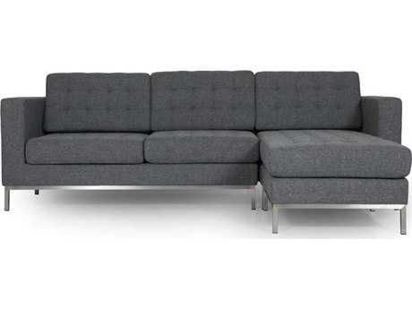 ION Design Drake Gray Left or Right Facing Sectional Sofa & Chaise with Stainless Base