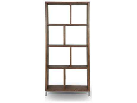 ION Design Omi Black Walnut 38.5''W x 84.5''H Bookcase with Metal Base
