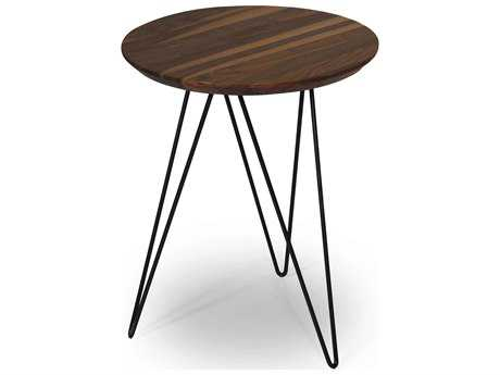 ION Design Solo Walnut Top 18'' Round End Table with Black Metal Base