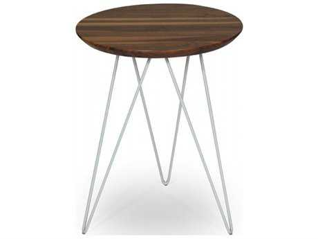 ION Design Solo Walnut Top 18'' Round End Table with Stainless Steel Base