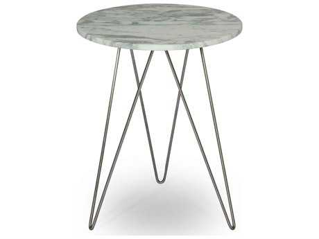 ION Design Solo Marble Top 18'' Round End Table with Stainless Base