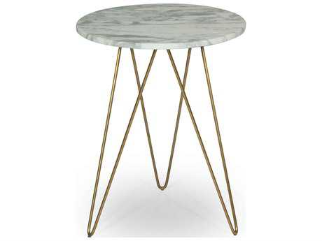 ION Design Solo Marble Top 18'' Round End Table with Gold Finish Base