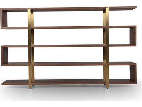 ION Design Metro American Black Walnut 78.5'' x 14'' Five Shelf Bookcase with Brass Supports
