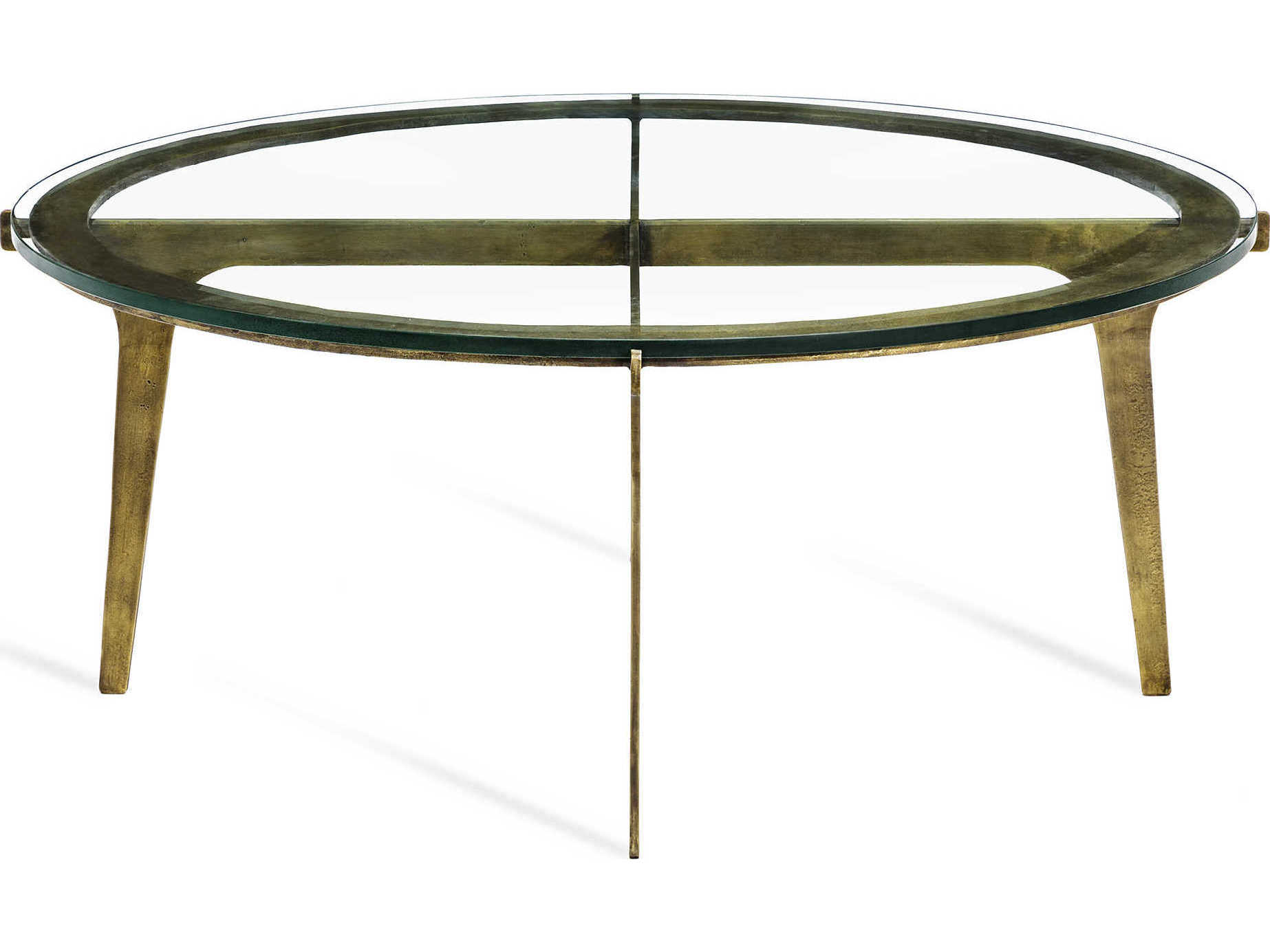 Interlude Home Colton Antique BrassClear Round Cocktail Table - Colton coffee table