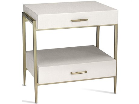 Interlude Home Natural White/ Champagne Silver 2 Drawers Nightstand