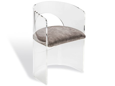 Interlude Home Clear/ Nimbus Grey Velvet Accent Chair IL145066