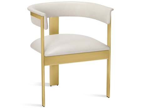 Interlude Home Darcy Cream Leather Dining Arm Chair