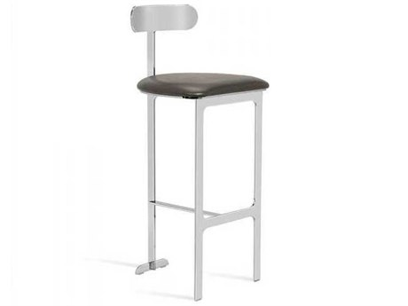Interlude Home Cityscape Grey/ Polished Nickel Side Bar Height Stool