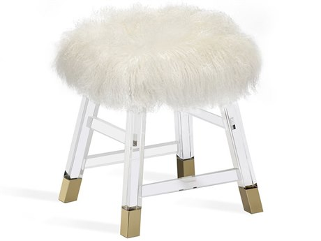 Interlude Home Reva Cream Sheepskin Stool