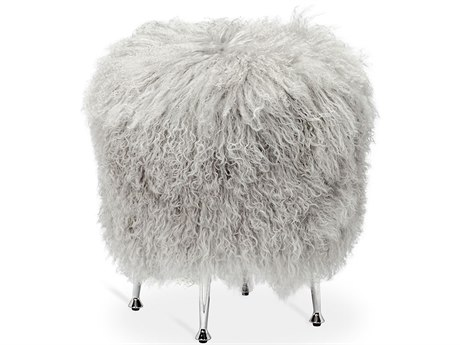 Interlude Home Antonia Grey Sheepskin Stool