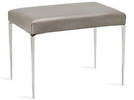 Interlude Home Stiletto Grey Leather / Nickel Stool