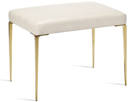 Interlude Home Stiletto Cream Leather / Brass Stool