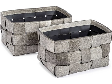 Interlude Home Perrin Set of Two Hide Baskets